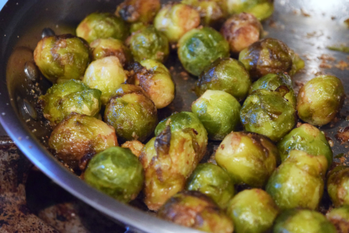 Searing the Brussel Sprouts