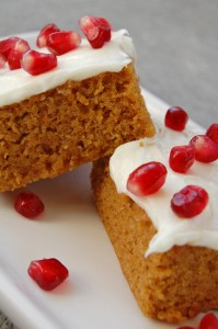 Pumpkin Bars & Pomegranate arils with cream cheese frosting
