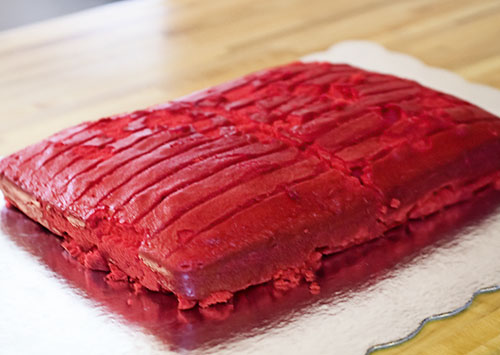 necronomicon cake, evil dead, army of darkness, red velvet