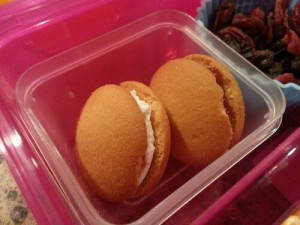 Sweet treats for Lunch. Nilla wafer with cream cheese and Jelly