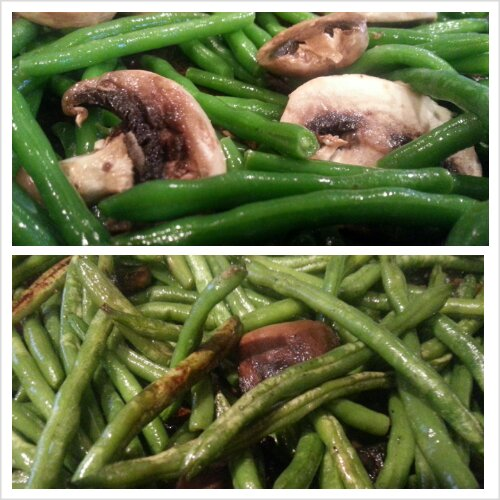 Oven Roasted Green Beans and Mushrooms