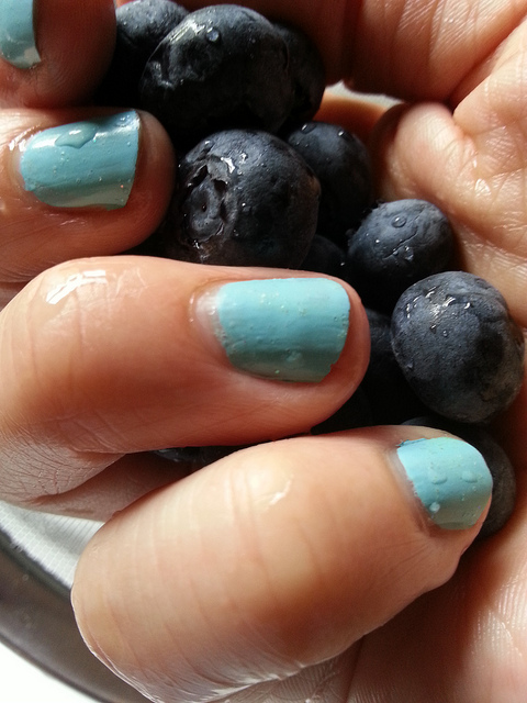 Blue Nails on Blueberries