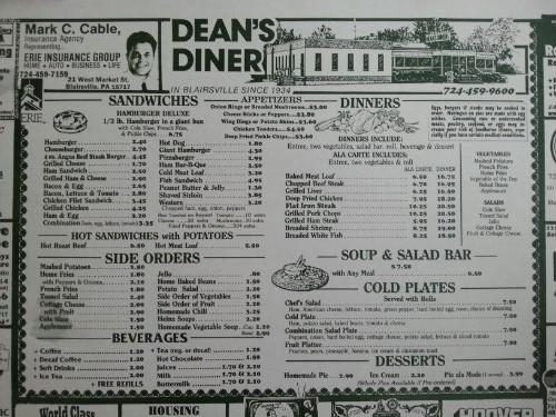 Dean's Diner Menu