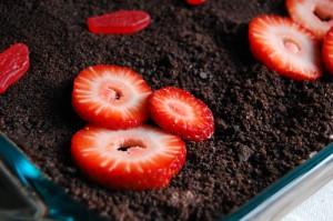 Dirt Cake/Dirt Dessert with Strawberries