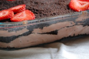 Dirt Cake/Dirt Dessert with Strawberries - Layers