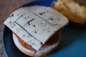 Buffalo Chicken Sandwich topped with Castello® Burger Blue cheese
