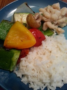 Grilled Veggies served with lemon navy beans and rice #kidscookmonday #cookwithkids #meatlessmonday