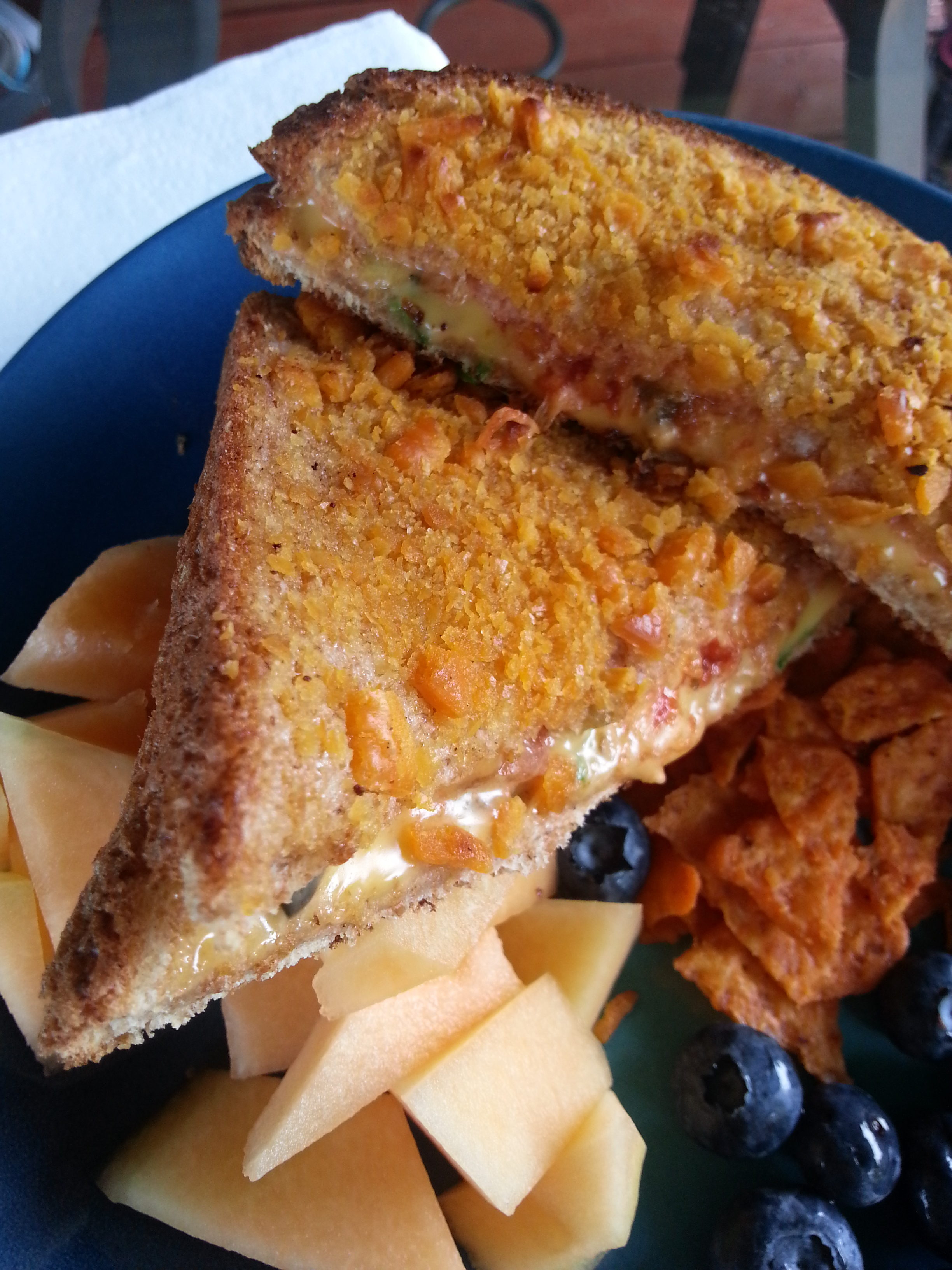 Jalapeno grilled cheese coated in Cheeze it crumbles