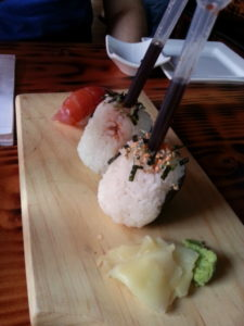 Spicy tuna riceballs with housemade soy sauce