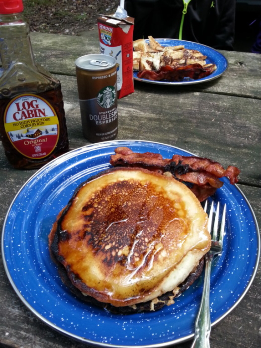 Bacon, pancakes, Log Cabin Syrup, Starbucks, and Horizon Chocolate Milk